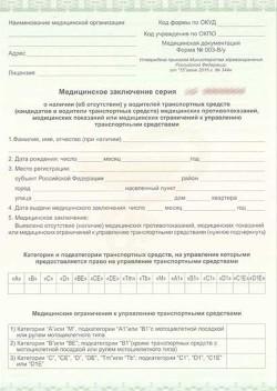 Медицинская справка на водительское удостоверение в Клин